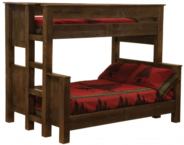 Frontier Barn Brown Queen/Twin Ladder Left Bunk Bed