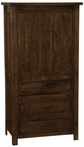 Frontier Barn Brown Premium Three Drawer Armoire with Adjustable Shelving