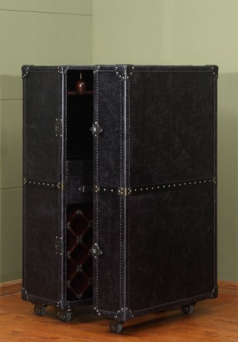 Meomi Black Leather Small Wine Cabinet