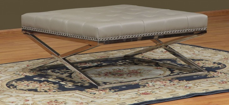 Peyton Adobe Leather Tufted Square Cocktail Table