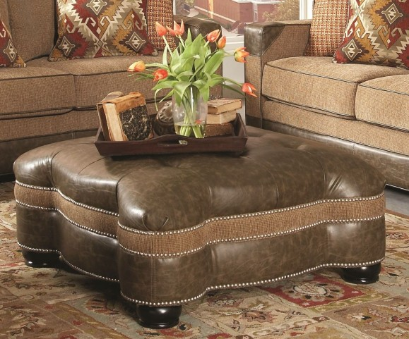 Fitzgerald Caramel and Ruby Multi Ottoman