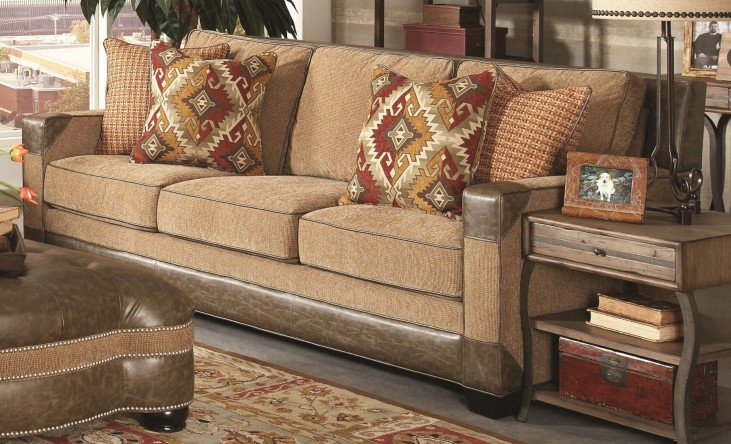 Fitzgerald Caramel and Ruby Multi Sofa