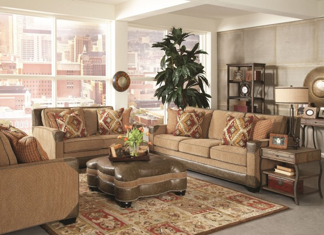 Fitzgerald Caramel and Ruby Multi Living Room Set