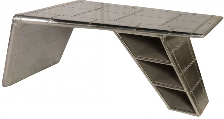Lindbergh Leather Bomber Aluminum Wing Desk