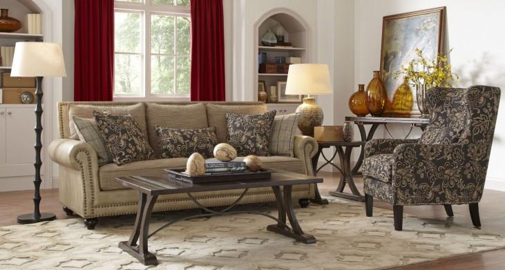 Kingsport Camel and Twilight Living Room Set