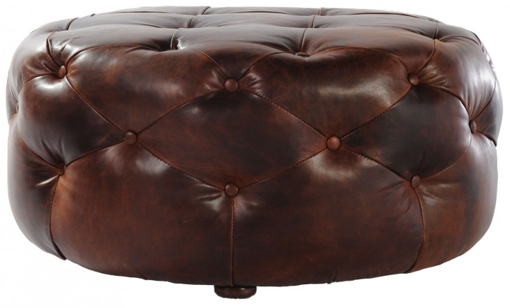 Mondavi Brompton Chocolate Leather Medium Tufted Ottoman