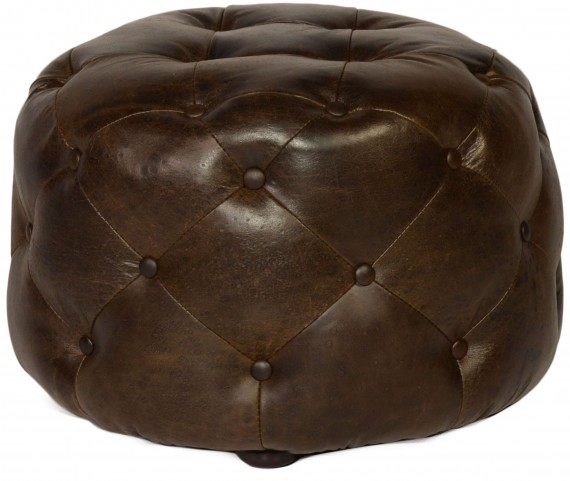 Mondavi Brompton Chocolate Leather Small Tufted Ottoman