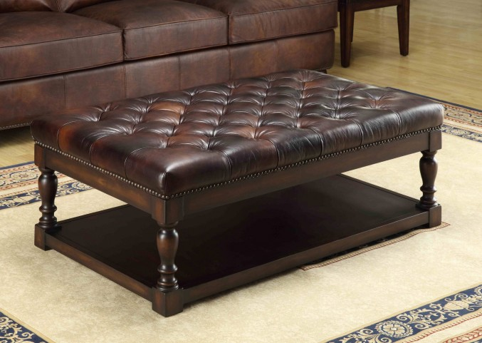 Ginney Toberlone Leather Tufted Shelf Cocktail Table