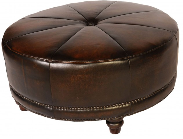 Cindy Black & Tan Leather Round Ottoman