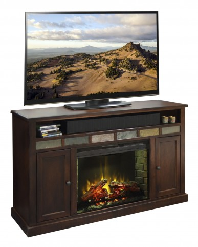 "Fire Creek Danish Cherry 63"" Fireplace Console"