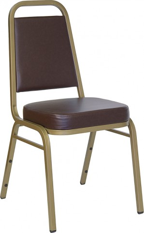 Hercules Trapezoidal Back Stacking Banquet Chair with Brown Vinyl and Gold Frame Finish