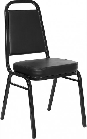 5977 Hercules Trapezoidal Back Stacking Banquet Chair with Black Vinyl and Black Frame Finish