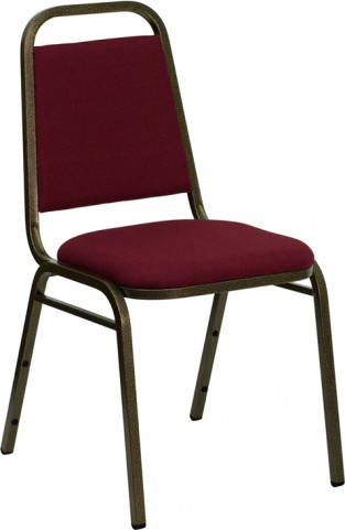 Hercules Trapezoidal Back Stacking Banquet Chair with Burgundy Fabric and Gold Vein Frame Finish
