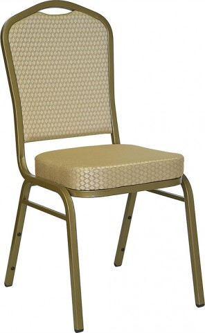 Hercules Crown Back Stacking Banquet Chair with Beige Patterned Fabric and Gold Frame Finish