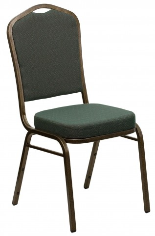 Hercules Series Crown Back Stacking Green Patterned Fabric Banquet Chair