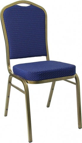 5989 Hercules Crown Back Stacking Banquet Chair with Navy Blue Patterned Fabric and Gold Vein Frame Finish