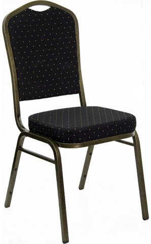 Hercules Crown Back Stacking Banquet Chair with Black Patterned Fabric and Gold Vein Frame Finish