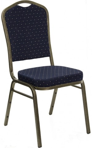 5992 Hercules Crown Back Stacking Banquet Chair with Navy Blue Patterned Fabric and Gold Vein Frame Finish