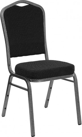 5994 Hercules Crown Back Stacking Banquet Chair with Black Patterned Fabric and Silver Vein Frame Finish