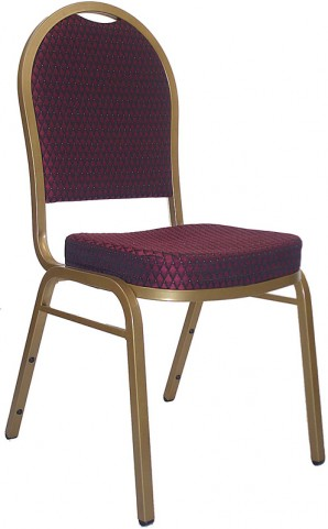 Hercules Dome Back Stacking Banquet Chair with Burgundy Patterned Fabric and Gold Frame Finish