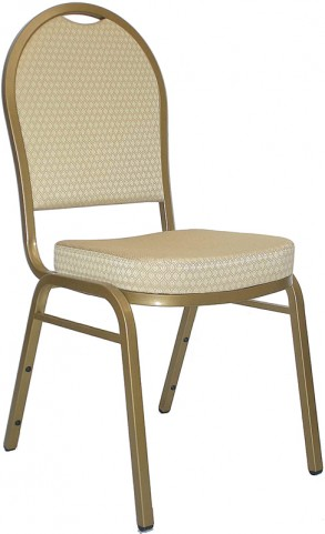 5996 Hercules Dome Back Stacking Banquet Chair with Beige Patterned Fabric and Gold Frame Finish