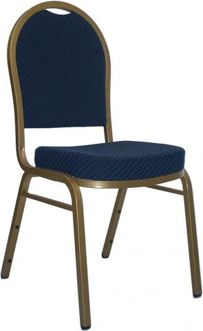 Hercules Dome Back Stacking Banquet Chair with Navy Patterned Fabric and Gold Frame Finish