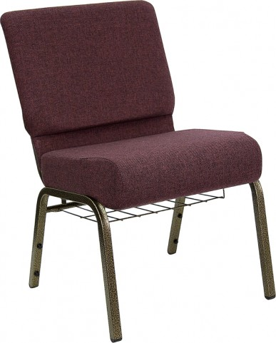 21'' Extra Wide Plum Hercules Church Chair with 4'' Thick Seat, Book Rack - Gold Vein Frame