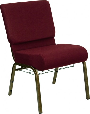 21'' Extra Wide Burgundy Hercules Church Chair with 4'' Thick Seat, Book Rack - Gold Vein Frame