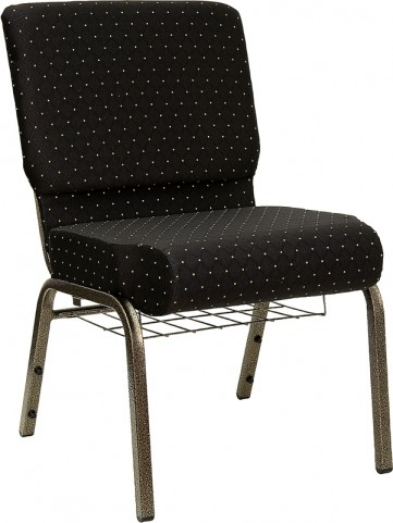 21'' Extra Wide Black Dot Hercules Church Chair with 4'' Thick Seat, Book Rack - Gold Vein Frame