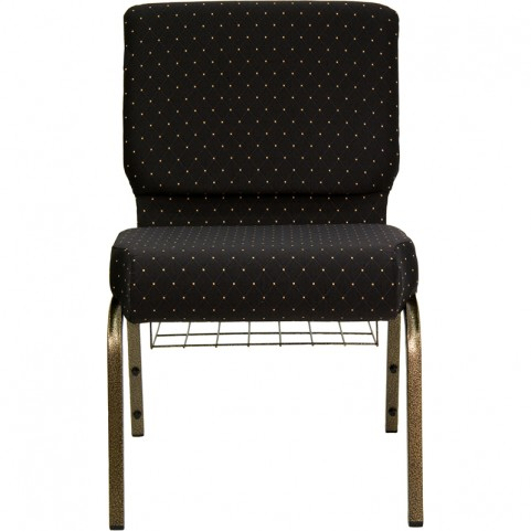 21'' Extra Wide Black Dot Hercules Church Chair with 4'' Thick Seat - Gold Vein Frame