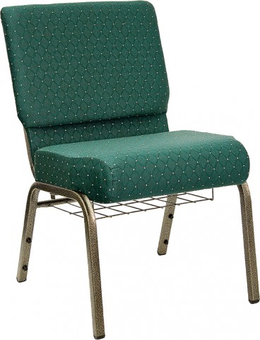 21'' Extra Wide Green Dot Hercules Church Chair with 4'' Thick Seat, Book Rack - Gold Vein Frame