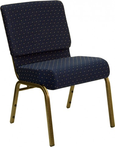 21'' Extra Wide Navy Blue Dot Hercules Church Chair with 4'' Thick Seat - Gold Vein Frame