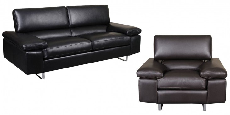 Fiona Black Leather Living Room Set