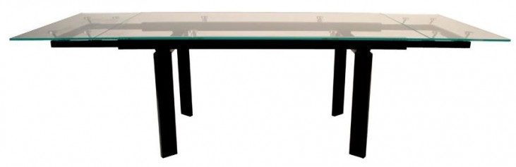 Ritz Flex Black Clear Glass Rectangular Extendable Dining Table