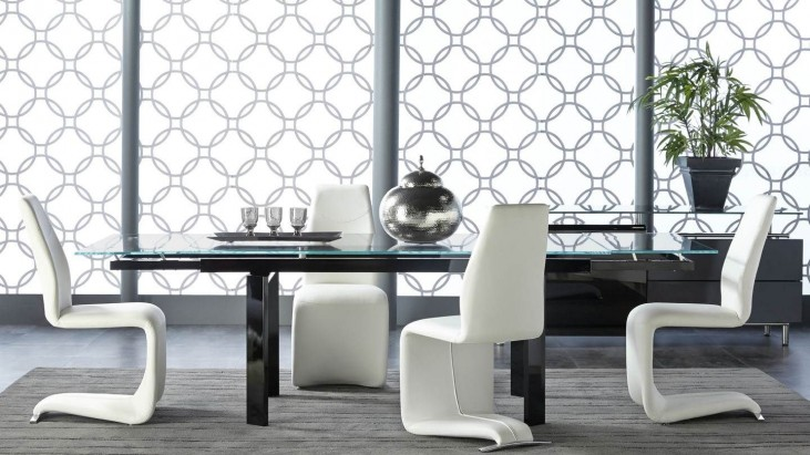 Ritz Flex Black Clear Glass Rectangular Extendable Dining Room Set with Regis Mobi Dining Chairs