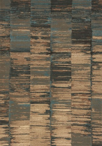 Flint Blue/Tan Abstract Stripes Large Rug