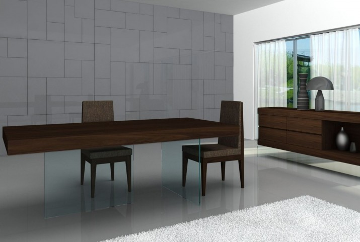 Float Timber Chocolate Modern Rectangular Dining Room Set