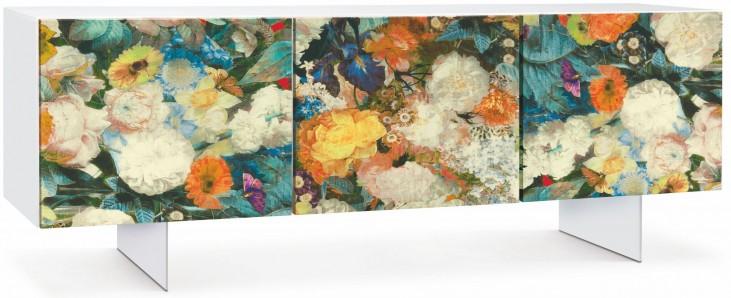 Flora White 4 Fabric Door Sideboard