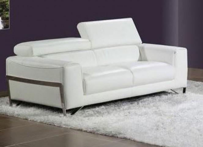 Flynt White Leather Loveseat