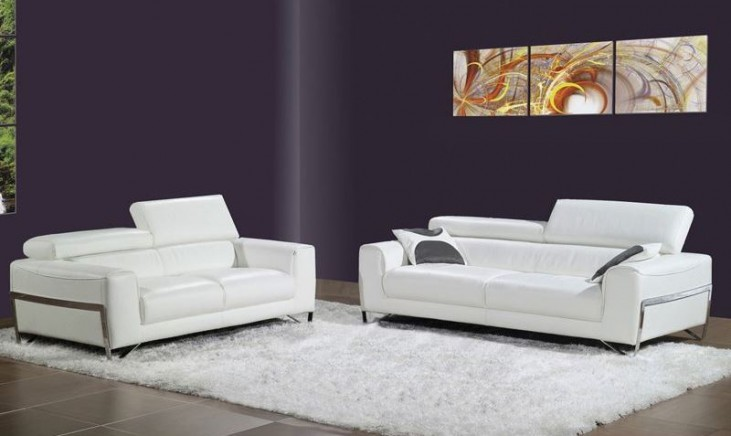 Flynt White Leather Living Room Set