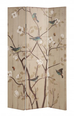 901920 Three-Panel Floral and Bird Folding Screen
