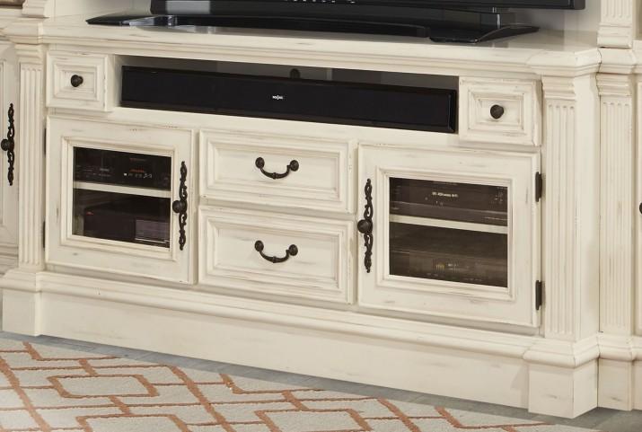 "Fremont Antique Burnished White 65"" TV Console"