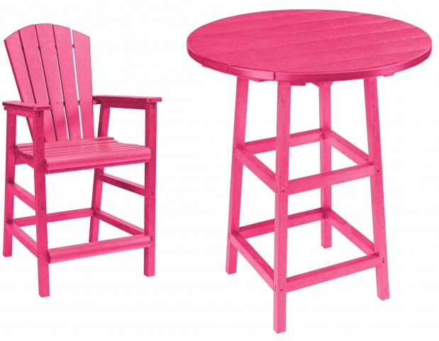 "Generations Fuschia 32"" Round Leg Pub Set"