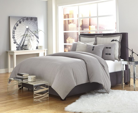 Fusion Gray 7 piece Queen Duvet Set