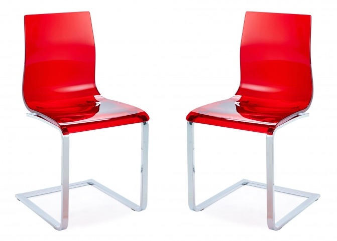 Gel Transparent Red Chair with Chrome Base Set of 2