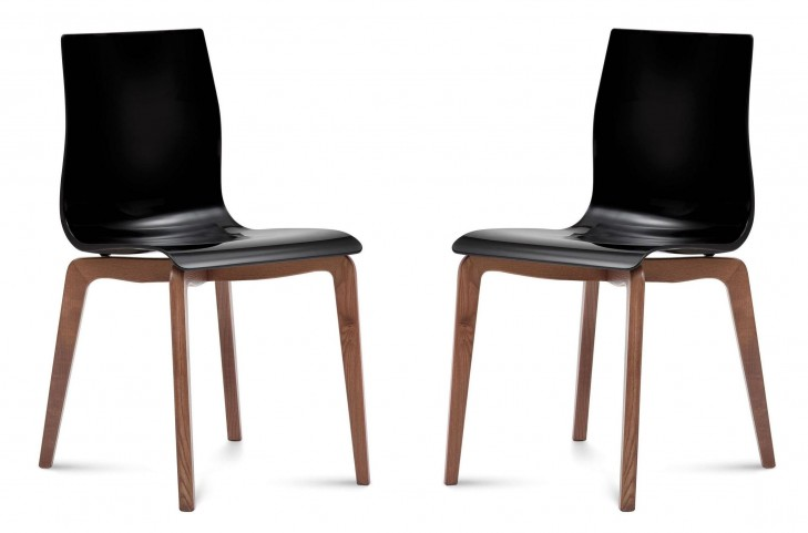Gel Black Walnut Frame Ashwood Chair Set of 2