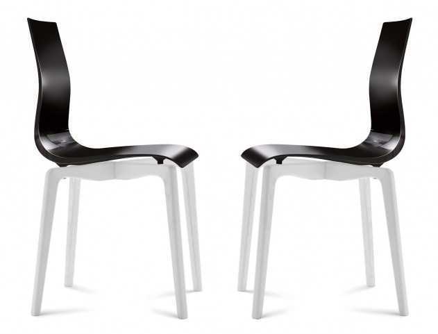 Gel Black Chair with White Mat Lacquered Set of 2