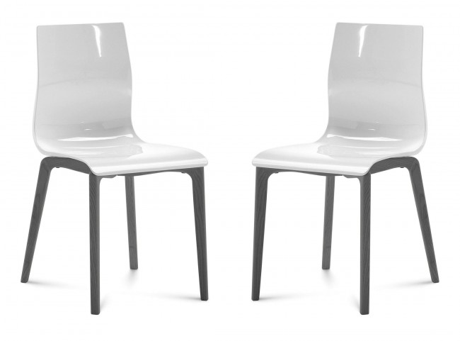 Gel White Anthracite Frame Ashwood Chair Set of 2