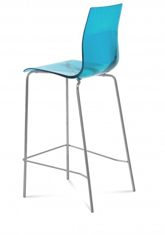 Gel Transparent Blue Stool with Satinated Aluminum Frame Set of 2
