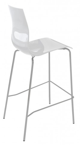 Gel White Stool with Satinated Aluminum Frame Set of 2